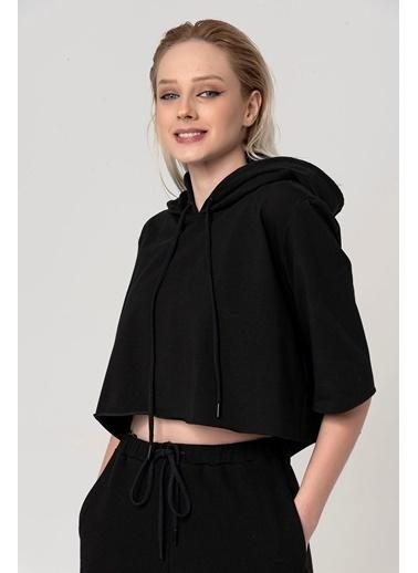 Coral Kısa Kapüşonlu Sweatshirt Siyah Siyah